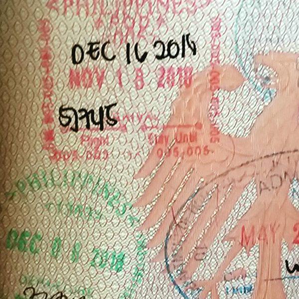 visum stempel im reisepass bei einreise auf die philippinen